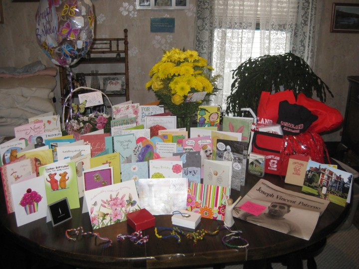 Birthday cards, flowers from Mandy and Fred & Christy, SUNY Cortland Alumni goodies from Nick, friendship/recovery bracelets from Danielle, a very special PSU newspaper from Ginny - and lots of love xo